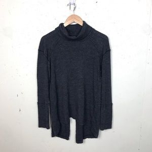 We The Free Gray Open Back Cowl Neck Sweater